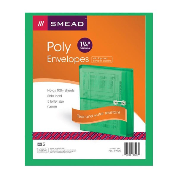 "Smead Poly Envelope, 1-1/4"" Expansion, String-Tie Closure, Side Load, Letter Size, Green, 5 per Pack (89523)"
