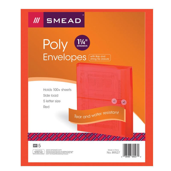 "Smead Poly Envelope, 1-1/4"" Expansion, String-Tie Closure, Side Load, Letter Size, Red, 5 per Pack (89527)"