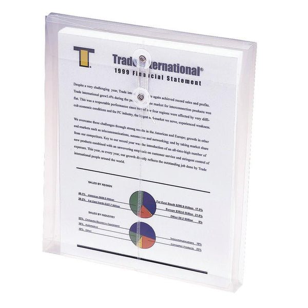 "Smead Poly Envelope, 1-1/4"" Expansion, String-Tie Closure, Top Load, Letter Size, Clear, 5-Pack (89540)"
