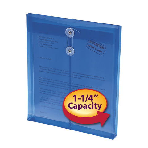 "Smead Poly Envelope, 1-1/4"" Expansion, String-Tie Closure, Top Load, Letter Size, Blue, 5-Pack (89542)"