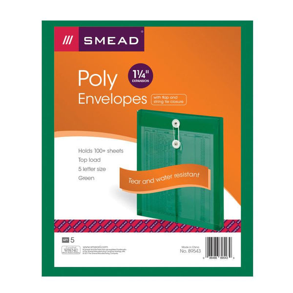 "Smead Poly Envelope, 1-1/4"" Expansion, String-Tie Closure, Top Load, Letter Size, Green, 5-Pack (89543)"