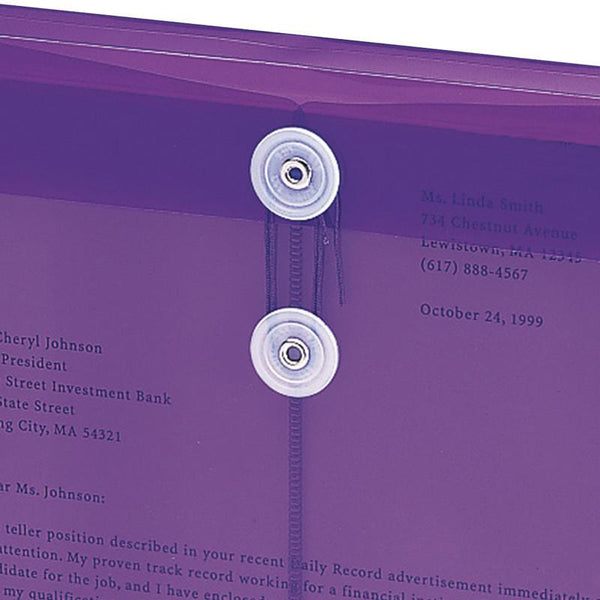 "Smead Poly Envelope, 1-1/4"" Expansion, String-Tie Closure, Top Load, Letter Size, Purple, 5-Pack (89544)"