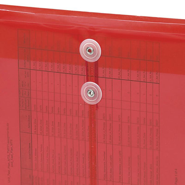 "Smead Poly Envelope, 1-1/4"" Expansion, String-Tie Closure, Top Load, Letter Size, Red, 5-Pack (89547)"