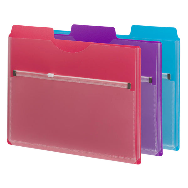 Smead Project Organizer with Zip Pouch, 1/3- Cut Tab, Letter Size, Assorted Colors, 3 per Pack (89617)