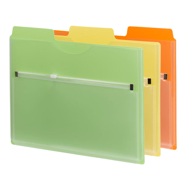 Smead Project Organizer with Zip Pouch, 1/3- Cut Tab, Letter Size, Assorted Colors, 3 per Pack (89618)
