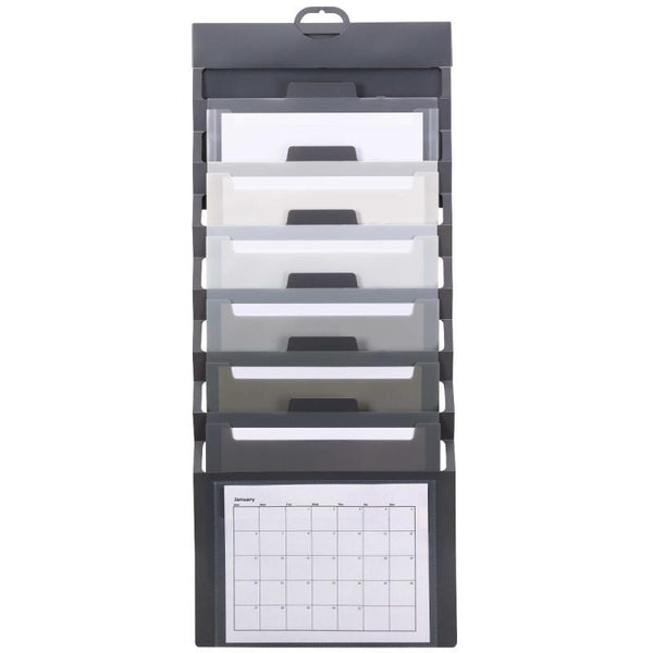 Smead Cascading Wall Organizer, 6 Pockets, Letter Size, Gray/Neutral (92061)