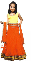 Girl's Orange And Yellow Lehenga