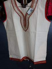 Cream And Red Short Kurti  Size XL Length 24 VS-8B165