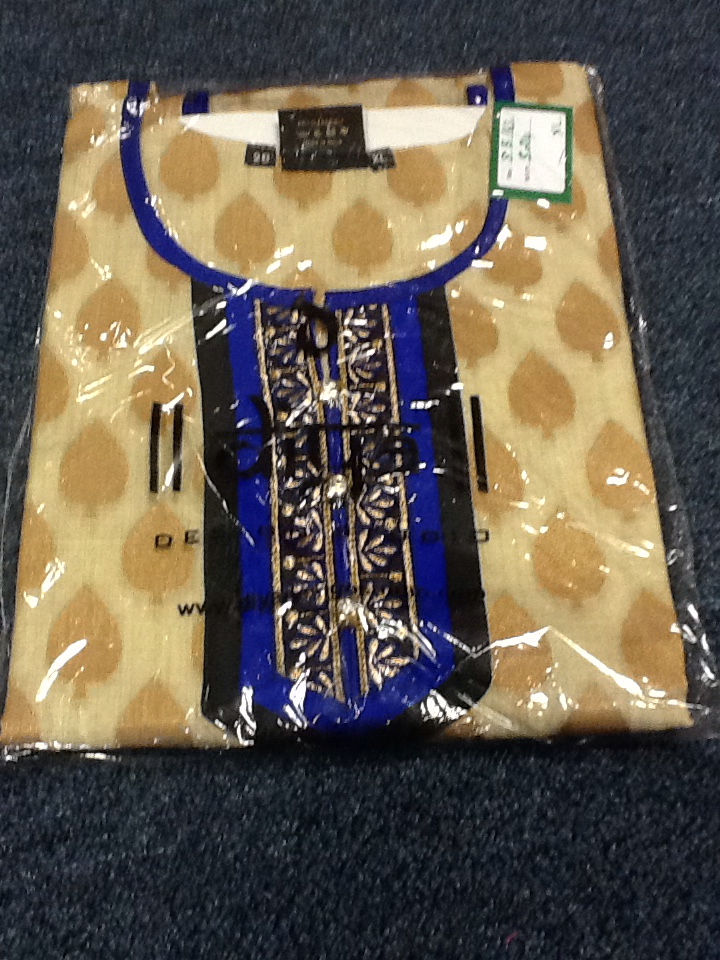 Beige and Blue Short  Kurti Size XL Length 28 VS-8B163