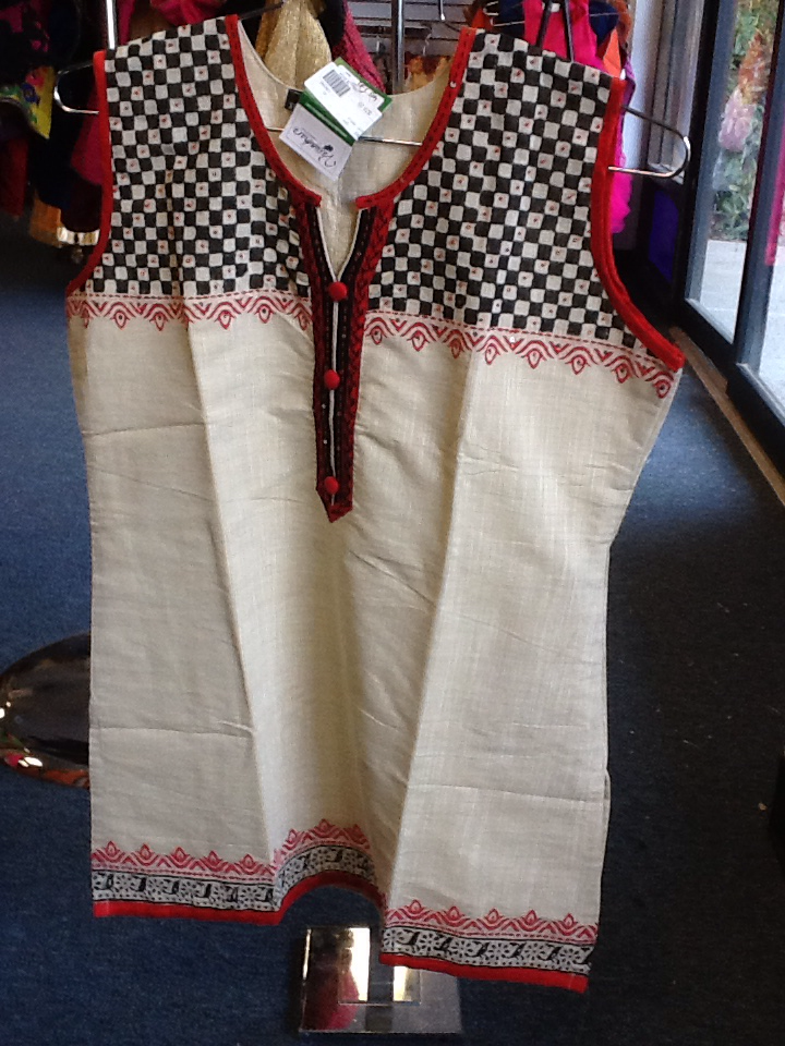 "Cream Color Short Kurti With Red And Black Design  Size XL and Length 28"" VS-4B575"