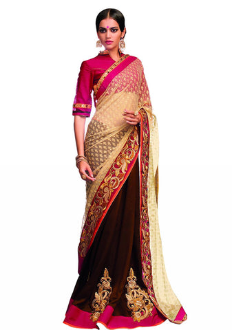 Brown Color Saree With Beige Net Pallu Designer Party Wear Saree VS-11A31/15
