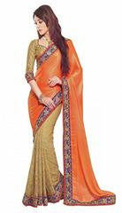 Orange Color Designer Saree With Blue Color Border VS-SAR-2622-11