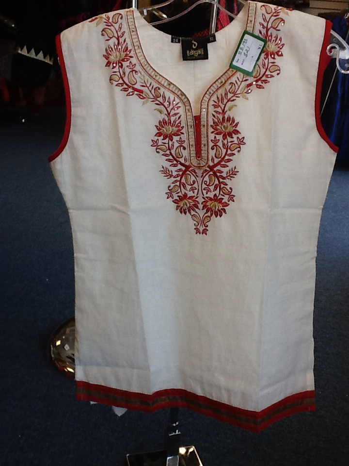 White And Red  Short Kurti Size XL Length 24 VS-8B193