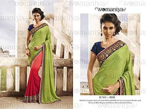 Partywear Designer Green & Tomato Red Saree