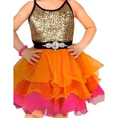 Girl's Orange With Black Frock