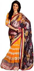 Floral Printed Saree With Pink Velvet Border VS-273