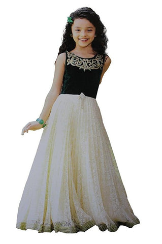 Girl's Green And Cream Long Gown