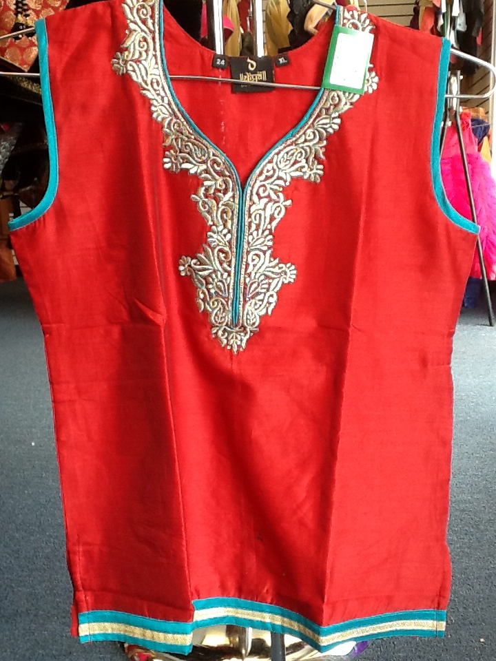 Red and Blue Short Kurti Size XL Length 24 VS-8B229
