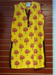 "Yellow and Pink Cotton Kurti Length 34"" Size L VS-4B552"