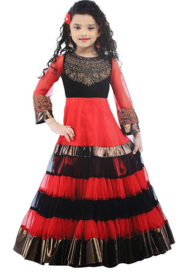 Girl's Red And Black Long Gown