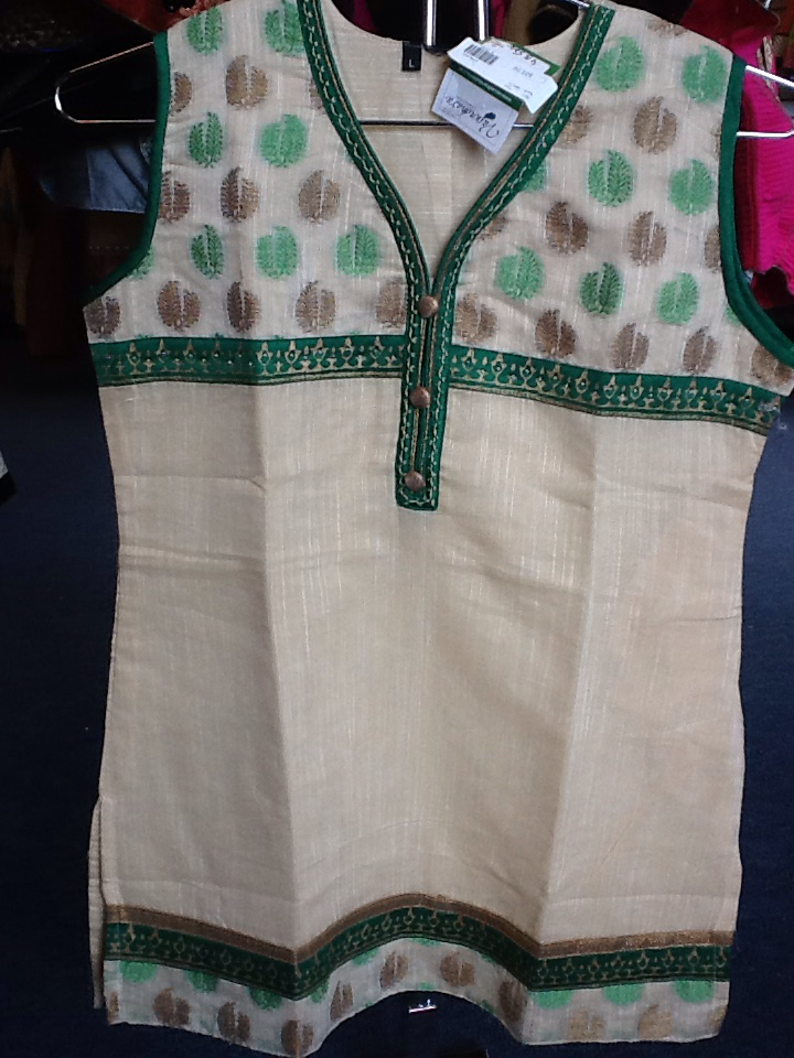 Cream And Green Short Kurti Size L Length 28 VS-4B578