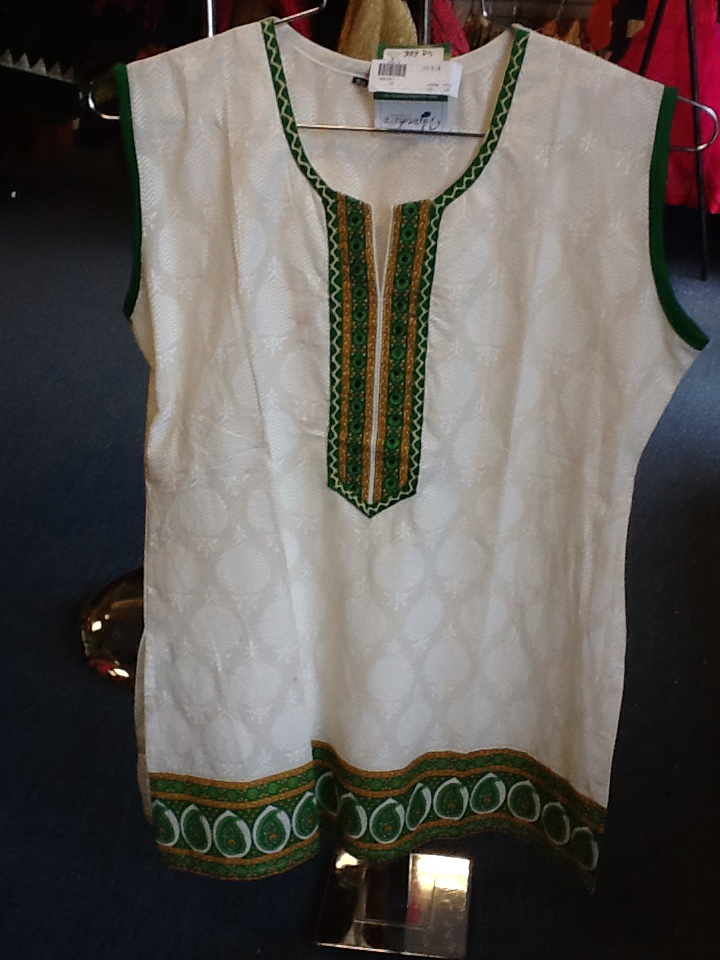 "White Short Kurti With Green And Yellow Design Size XL and Length 28"" VS-4B686"