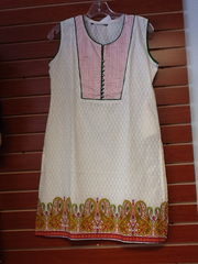 "Cream and Green Cotton Kurti Length 34"" Size L VS-4B731"