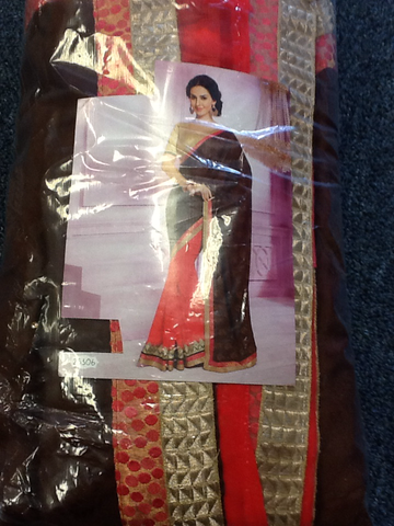 Pink and  Brown Color Designer Saree  VS-11A39/15