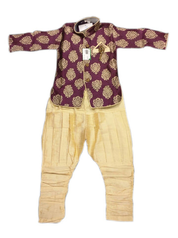 Boy's Dark Pink And Gold Sherwani