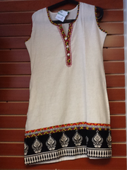 "Cream and Pink Cotton Kurti Length 34"" Size L VS-4B620"