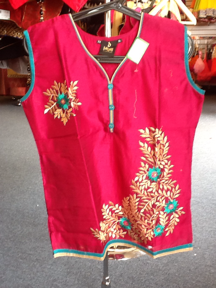Magenta and Gold Color Short Kurti   Size XL Length 24 VS-8B169