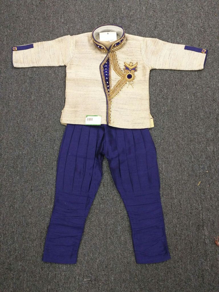 Boy's Cream And Navy Blue Sherwani