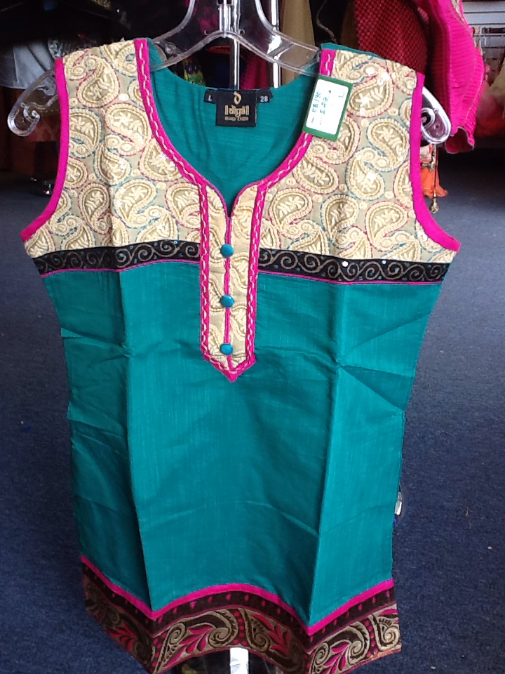 Green and Pink Short Kurti Size L Length 28 VS-8B190