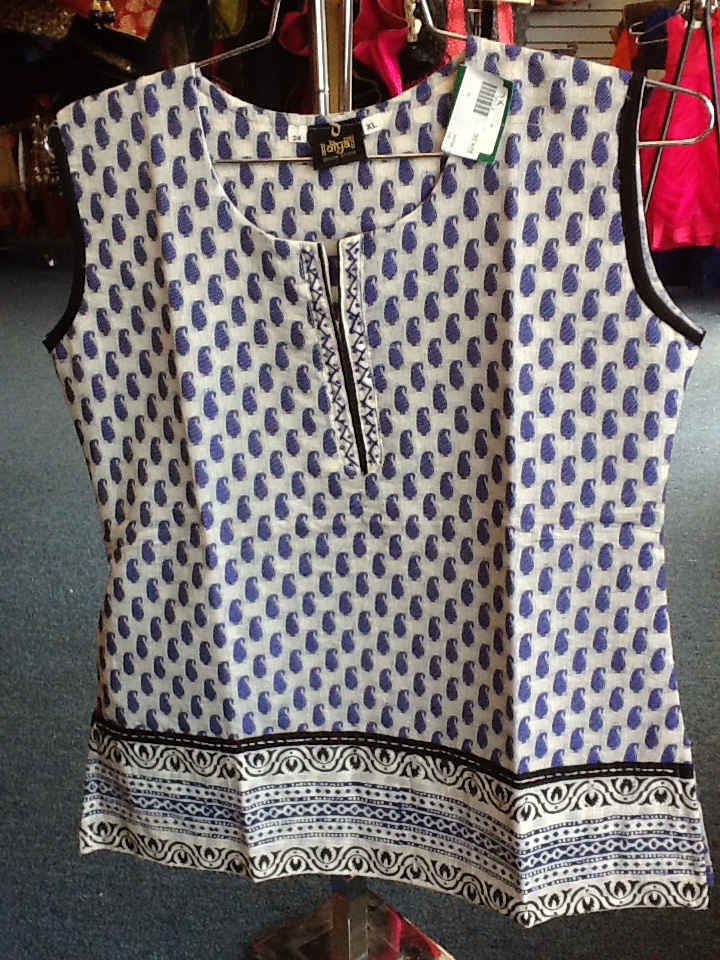 White and Blue Shot Kurti Size XL Length 24 VS-8B209