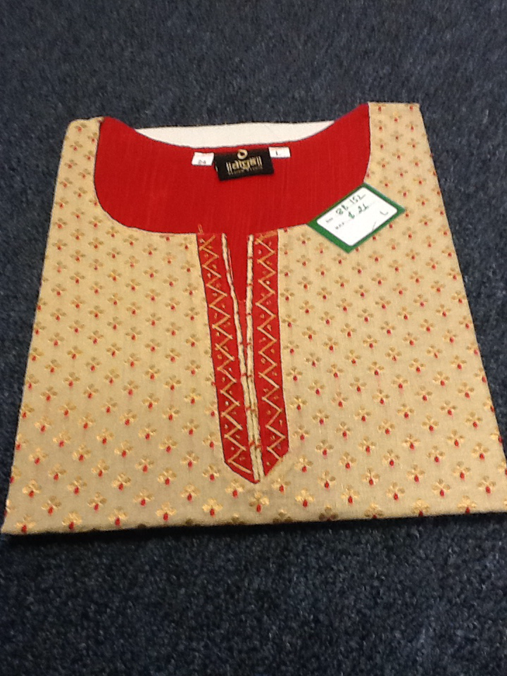 Red And Beige Short  Kurti Size L Length 24 VS-8B152