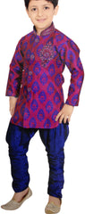 Boy's Dark Pink With Navy Blue Sherwani