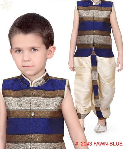 Boy's Blue And Gold Dhoti Suit