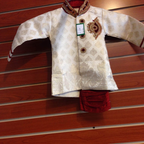 Boy's Cream And Maroon Sherwani