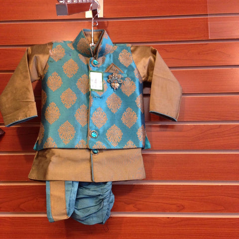 Boy's Blue And Gold Sherwani