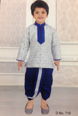 Boy's White and Navy Blue Kurtha Suit