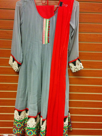 Ash and Red Color  Georgette Salwar Suit Size L VS-9B253/15