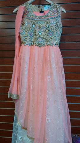 Girl's Peach With Gold PartyWear Salwar Suit