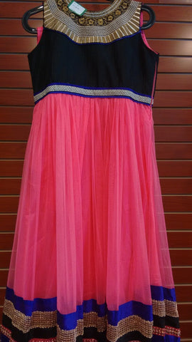 Girl's Pink And Black Salwar Suit