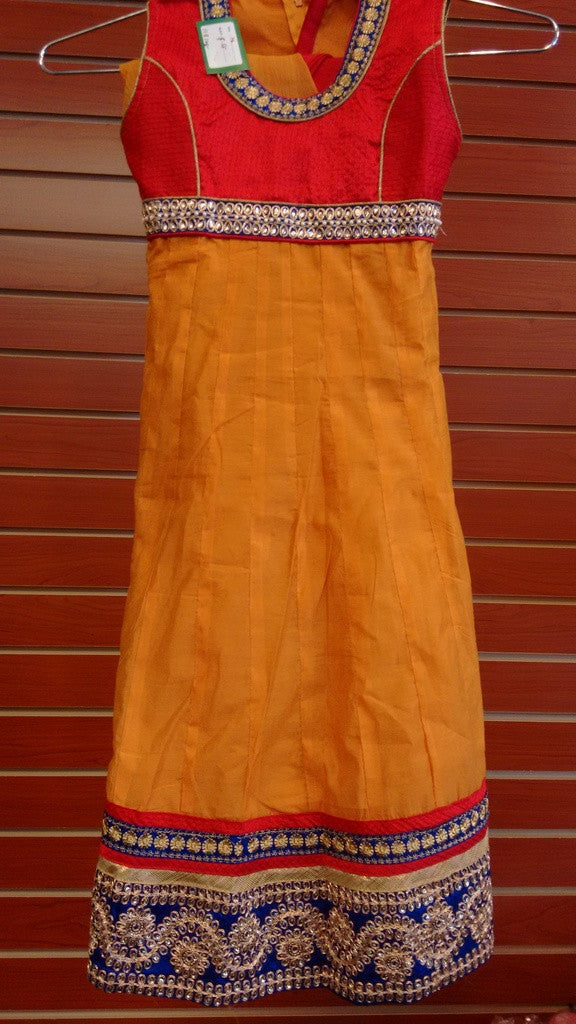 Girl's Mustard And Red Salwar Suit