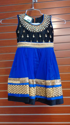 Girl's Blue And Black Salwar Suit