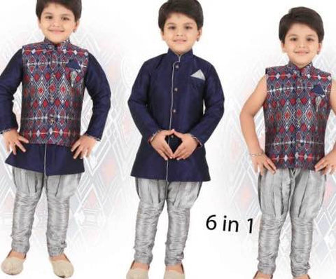 Boy's 6 in 1 Blue and Ash Color Sherwani Suit VS-ZE1/16