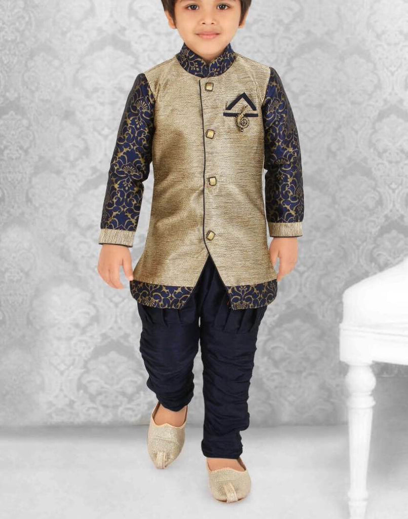 Boy's Blue and Gold Color Sherwani Suit VS-ZE2/16
