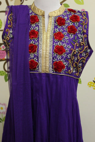 Girl's Purple Salwar Suit