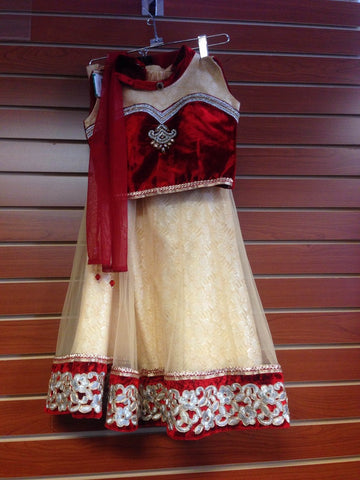 Girl's Red And Gold Lehenga