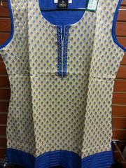 "Beige color Short Kurti with Blue and Gold Self Design  Size XL and Length 28"" VS-8B202"